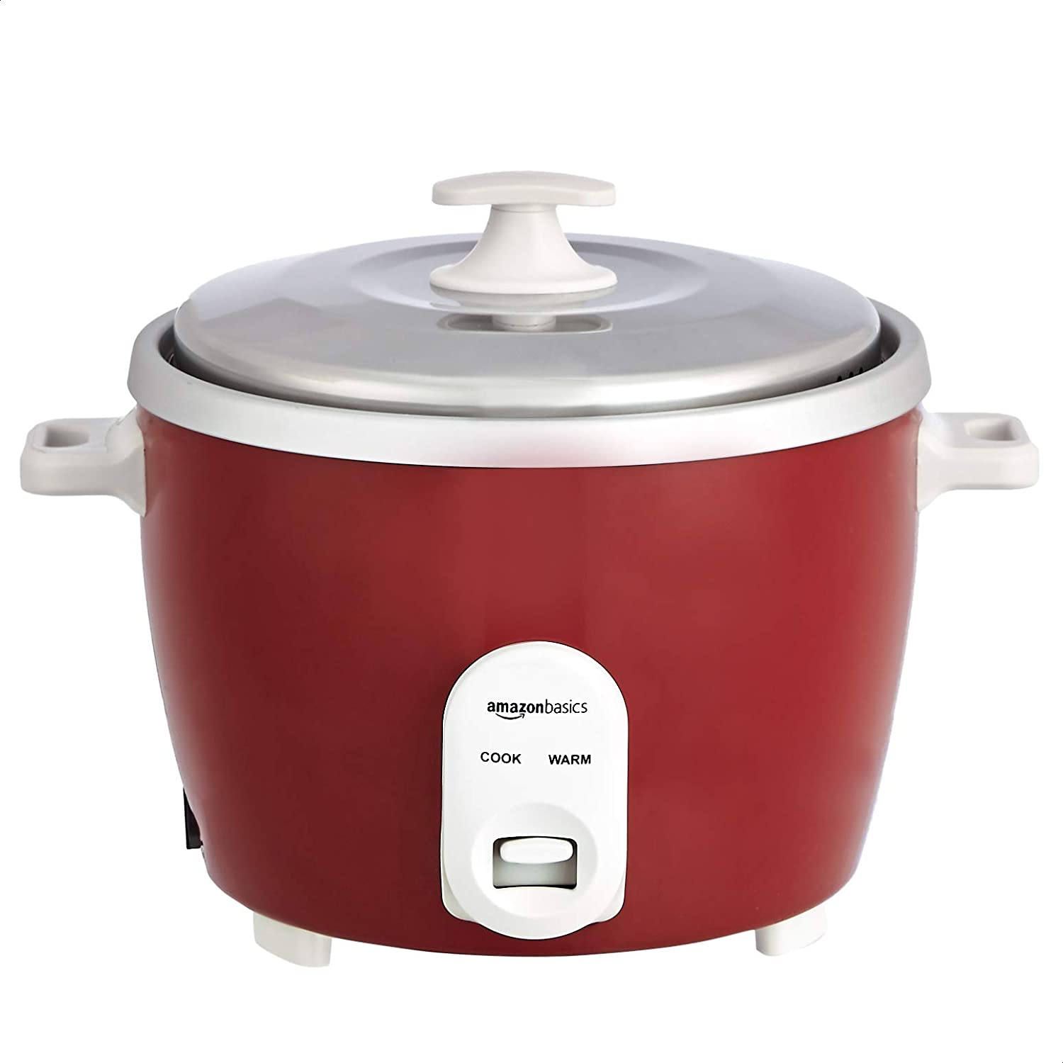 AmazonBasics Electric Rice Cooker 1 L (500 W) with Aluminum Pan, Measuring Cup and Scoop - Maroon