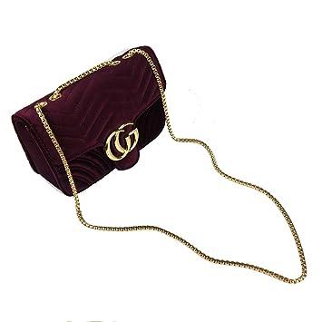84b0ac3f2d SHRJJ 2018 Girls Fashion CG Lock Velvet High Quality Leather Shoulder Bag  Crossbody Bag Wave Pattern ...