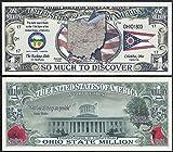 Ohio State Educational Million Dollar Bill W Map, Seal, Flag, Capitol - Lot of 100 Bills
