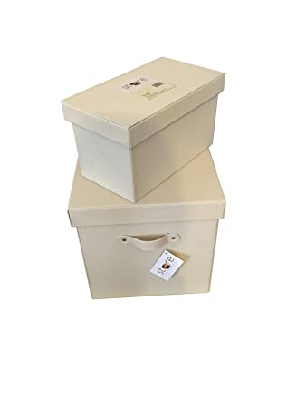 Bern Pair Of Cream Faux Leather Storage Boxes Chests Large Size U003d (W) 28cm