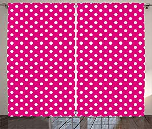 Ambesonne Retro Curtains By, Vivid Vibrant Design Vintage Polka Dots  Geometric 70s 60s Inspired Pattern