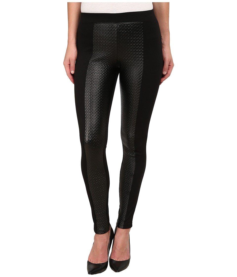 Hue Women's Textured Leatherette Ponte Leggings (Medium, Black)