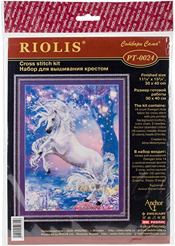 """RIOLIS 0024PT -  Unicorn - Counted Cross Stitch Kit 11.75""""x15.75"""" Zweigart 14ct. AIDA With Pre-printed Background 16 Colors"""