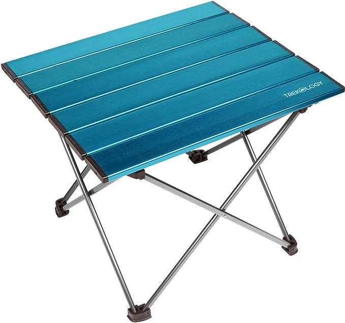 TREKOLOGY Mesa de camping portátil con tablero de aluminio, mesa plegable con tapa dura en una bolsa para picnic, campamento, playa, útil para cenar, ...