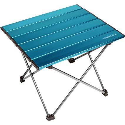 Trekology Portable Camping Side Tables Aluminum Table Top: Hard Topped  Folding Table In A