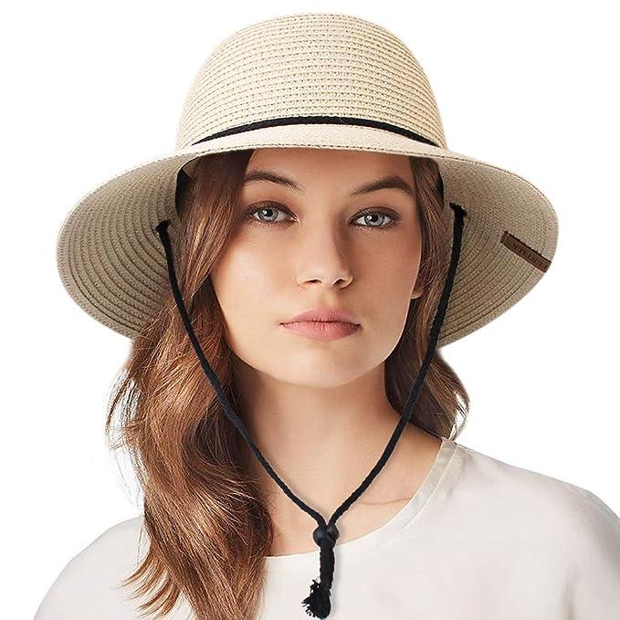 90987a2e Womens Wide Brim Sun Hat with Wind Lanyard UPF 50 Summer Sun Straw Hats for  Women
