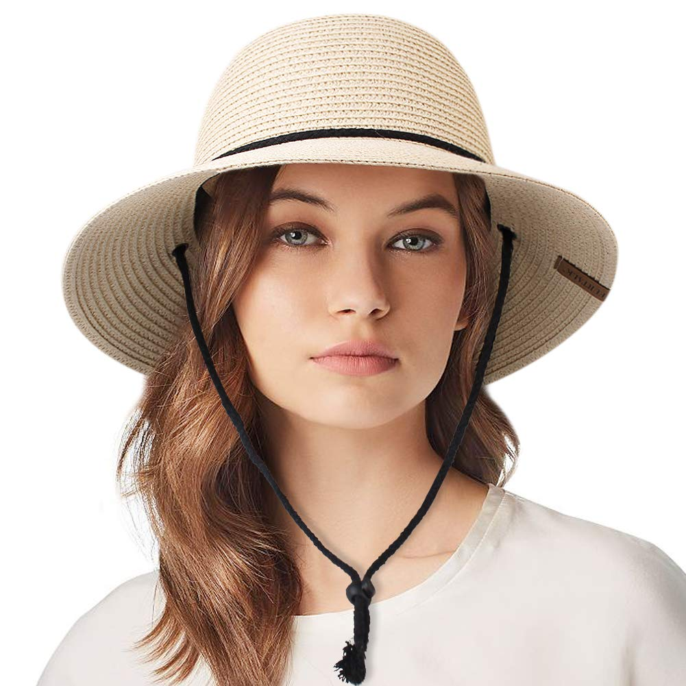 Womens Wide Brim Sun Hat with Wind Lanyard UPF Summer Straw Sun Hats for Women