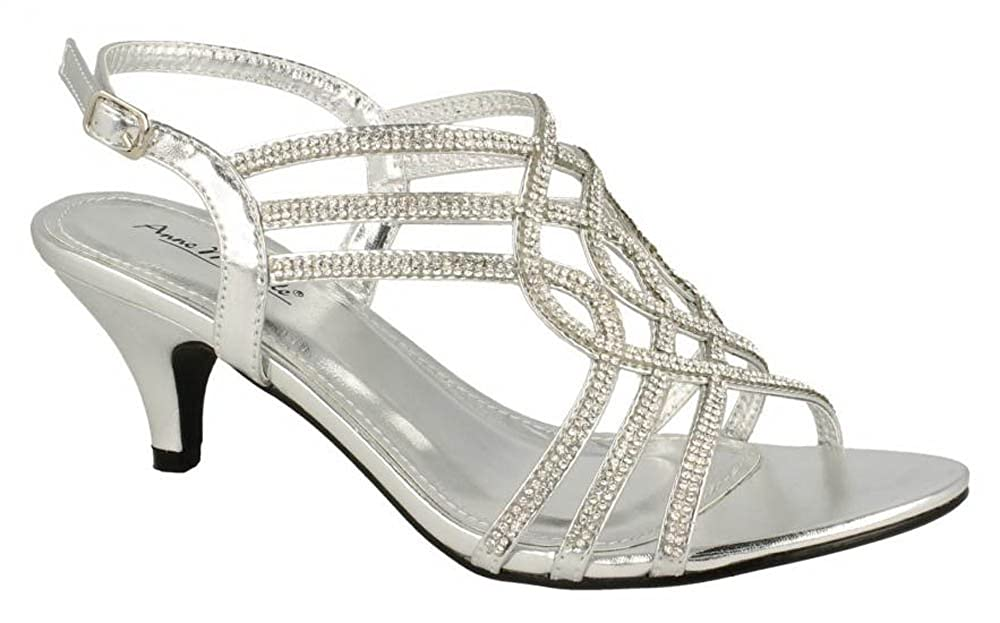 58e5c7a4b9 Chic Feet Silver Diamante Evening Wedding Bridal Prom Party Low Heel Sandals:  Amazon.co.uk: Shoes & Bags