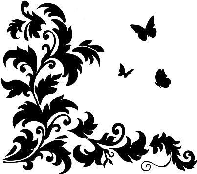 Wandtattoo Schmetterling Blumenranke Ornament Ranke Wandaufkleber Deko