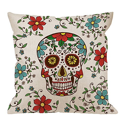 HGOD DESIGNS Day of The Dead Decorative Throw Pillow Cover Case,Colorful Skull with Floral Cotton Linen Outdoor Pillow cases Square Standard Cushion Covers For Sofa Couch Bed 18x18 inch Red Green