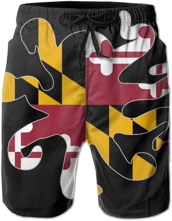 Maryland Flag Octopus Shaped Mens Lightweight Boardshorts Casual Classic Beachwear with Pockets
