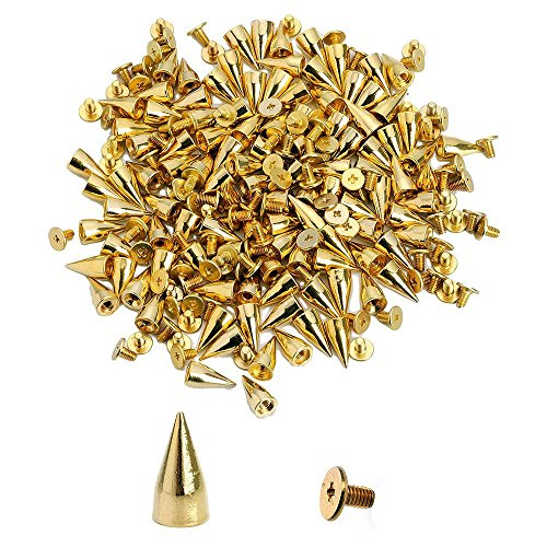 NYKKOLA 100Pcs/Set 9.5mm Silver Cone Spikes Screwback Studs DIY Craft Cool Rivets Punk - - Cone Gold Rivet