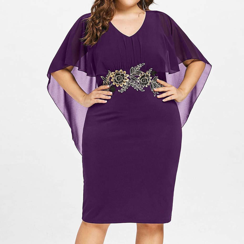 Sttech1 Women Plus Size Dress Ladies V-Neck Cocktail Bodycon Elegant Cape Dress S-5XL