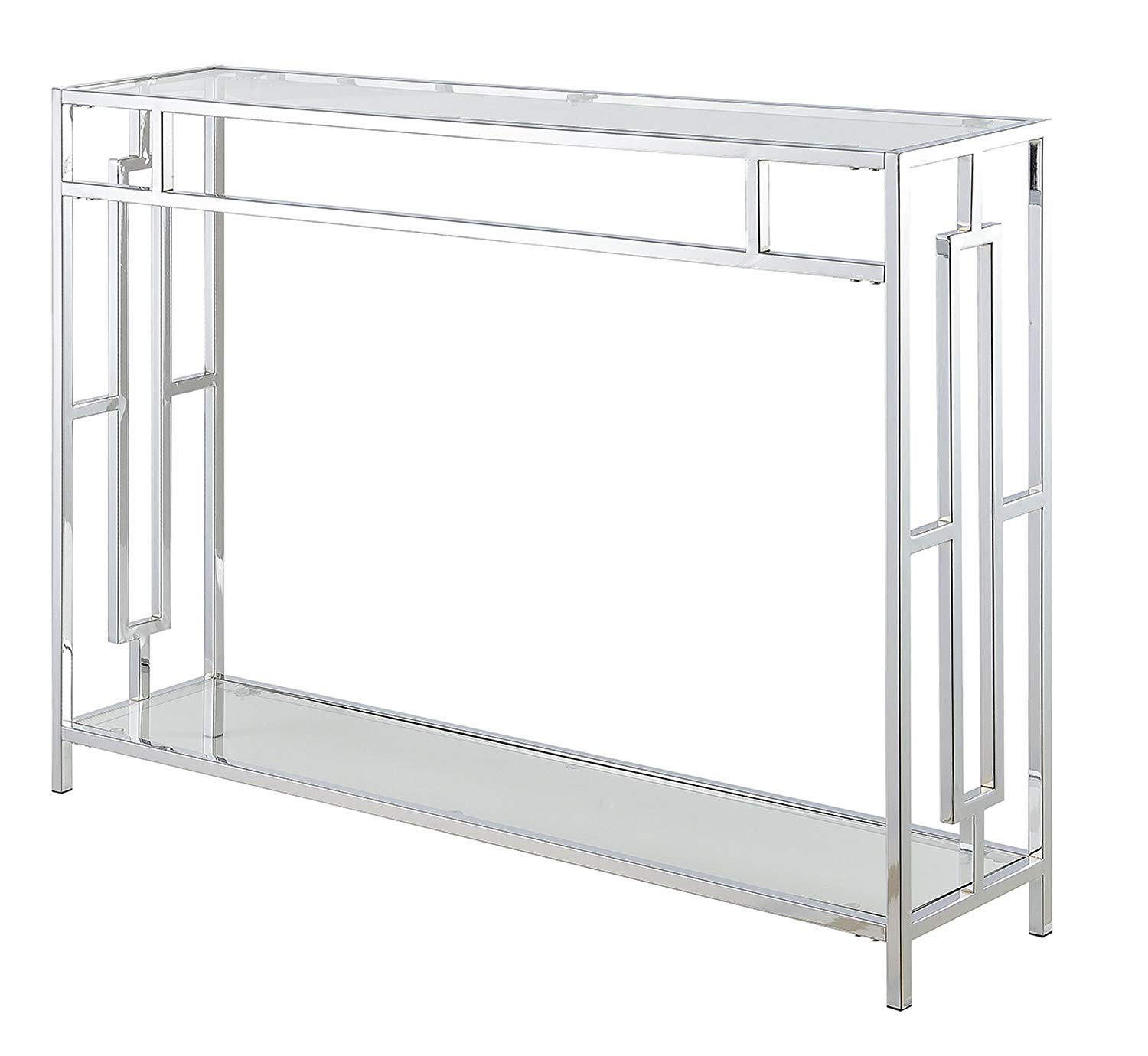 Convenience Concepts Town Square Console Table, Clear Glass Chrome Frame