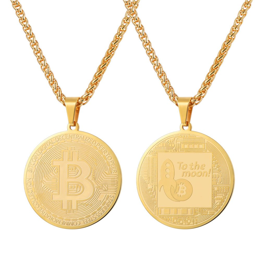 U7 Coin Medal Pendant Stainless Steel 18K Gold Plated Bitcoin Jewelry Digital Cryptocurrency Blockchain Bitcoin Necklaces