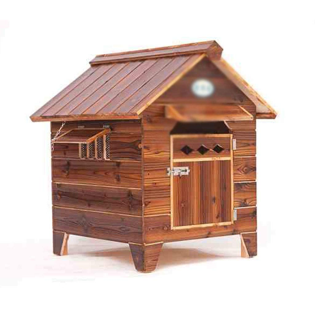 Brown 534654cm Brown 534654cm Kennel Dog Houses Solid Wood Outdoor Pet Nest Rainproof Door And Window Visor Four Seasons Universal Removable Houses, Crates & Accessories (color   Brown, Size   53  46  54cm)