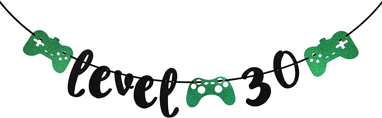 Happy 30th Birthday Party Banner, Level 30 Banner for Gaming Gamer Birthday Party Decors (Black & Green)
