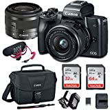 Canon EOS M50 15-45mm Mirrorless Digital Camera Video Creator Kit (Black) with Spare Battery and Charger + 64GB Memory Card + Canon Camera Bag