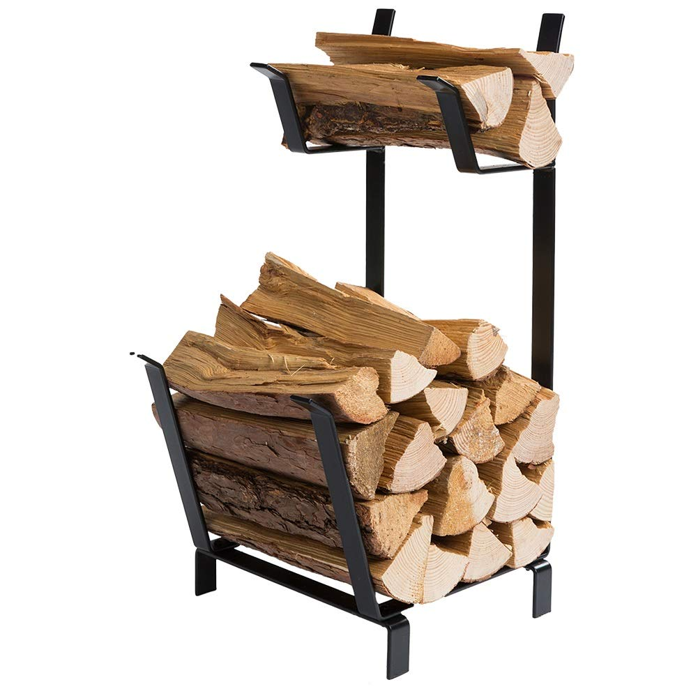 DOEWORKS 27 Inches Two Tier Practical Indoor Outdoor Firewood Log Rack Bin, Black