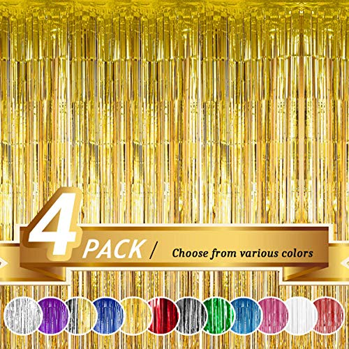 Photo Prop Backdrop (BTSD-home Gold Foil Fringe Curtain, Metallic Photo Booth Tinsel Backdrop Door Curtains for Wedding Birthday and Special Festival Decoration(4 Pack, 12ft x)