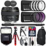 Canon EF 85mm f/1.8 USM Lens + Speedlite 430EX III-RT Flash + UV-CPL-FLD Filters + Macro Filter Kit + 72 Monopod + Tripod + 32GB Class 10 + Backpack + Spider Tripod - International Version