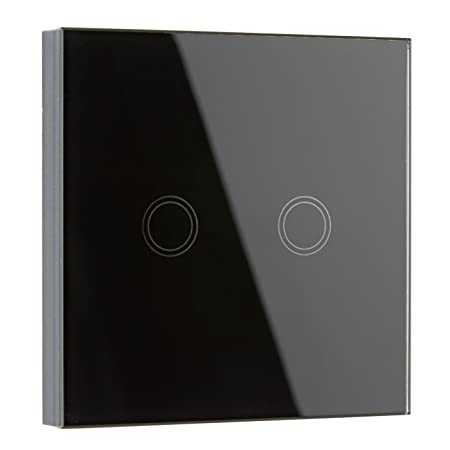 Biard Led 2 Gang Wall Crystal Glass Touch Switch With Led Indicator