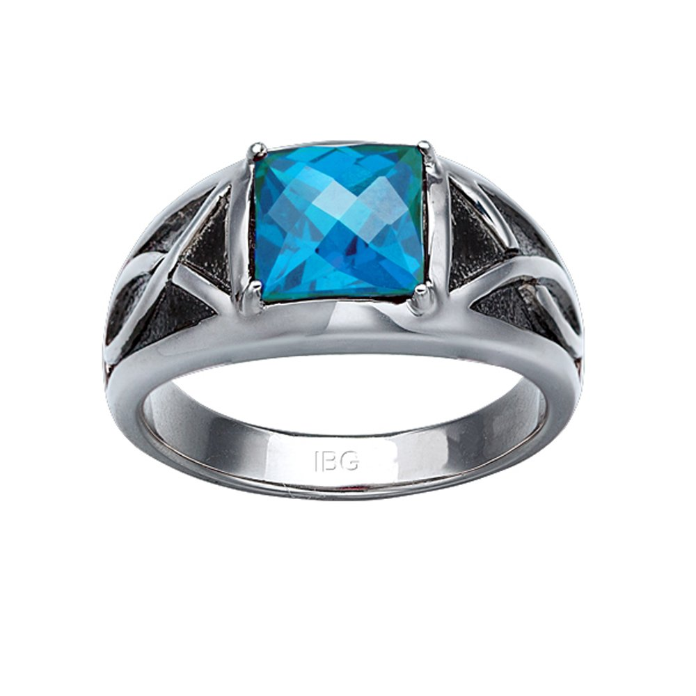 Sterling Silver Created Swiss Blue Topaz Ring. Finger Size 10.5