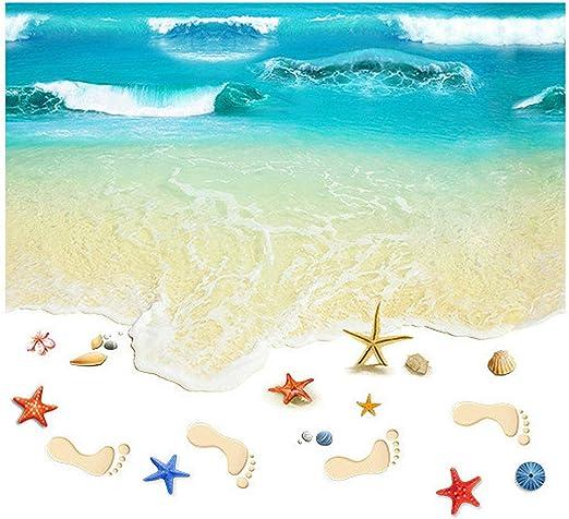 3D Sea Wave Oceam Beach Floor Stickers Star Shell Decoration Wall Stickers DE