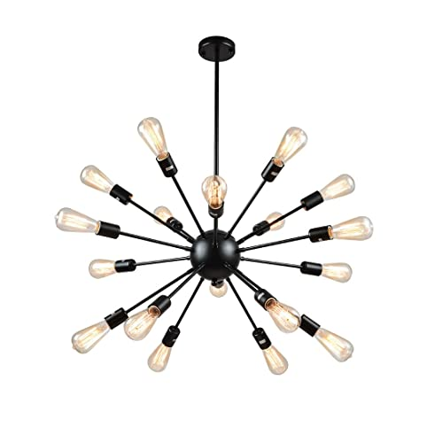 Mirrea vintage metal large dimmable sputnik chandelier with 18 mirrea vintage metal large dimmable sputnik chandelier with 18 lights black painted mozeypictures Image collections