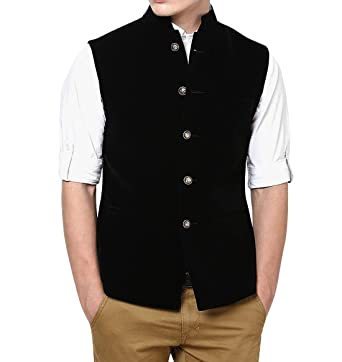 004fc78ec5 Bagtesh Fashion Mens Ethnic Nehru Vest Indian Waistcoat Royal Black Velvet Nehru  Jacket MJ108 (36