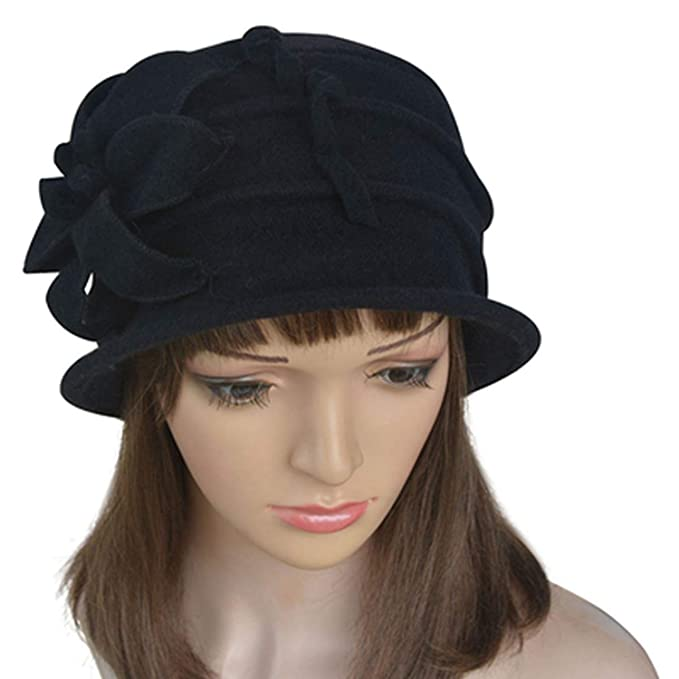 Image Unavailable. Image not available for. Color  Winter Women Hat Pure  Wool Cap Church ... 03ecd7f10e5