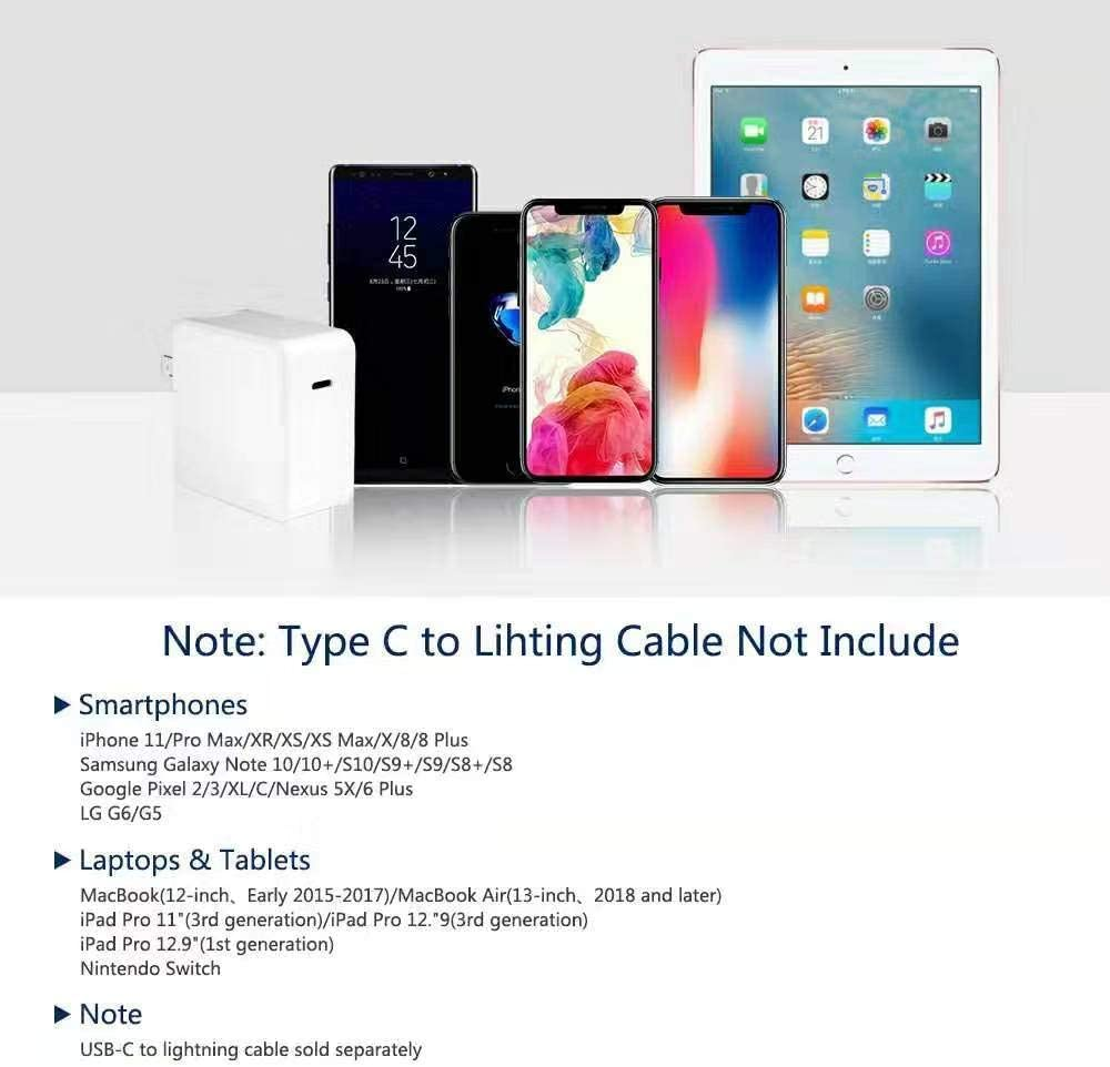 The New MacBook Air//iPad Pro//iPhone QC4.0 30W +Cable Fast Charger 30W MacBook Pro Charger with Type-C Cable Power Supply Fire-Proof PD 4.0 for Samsung Phone