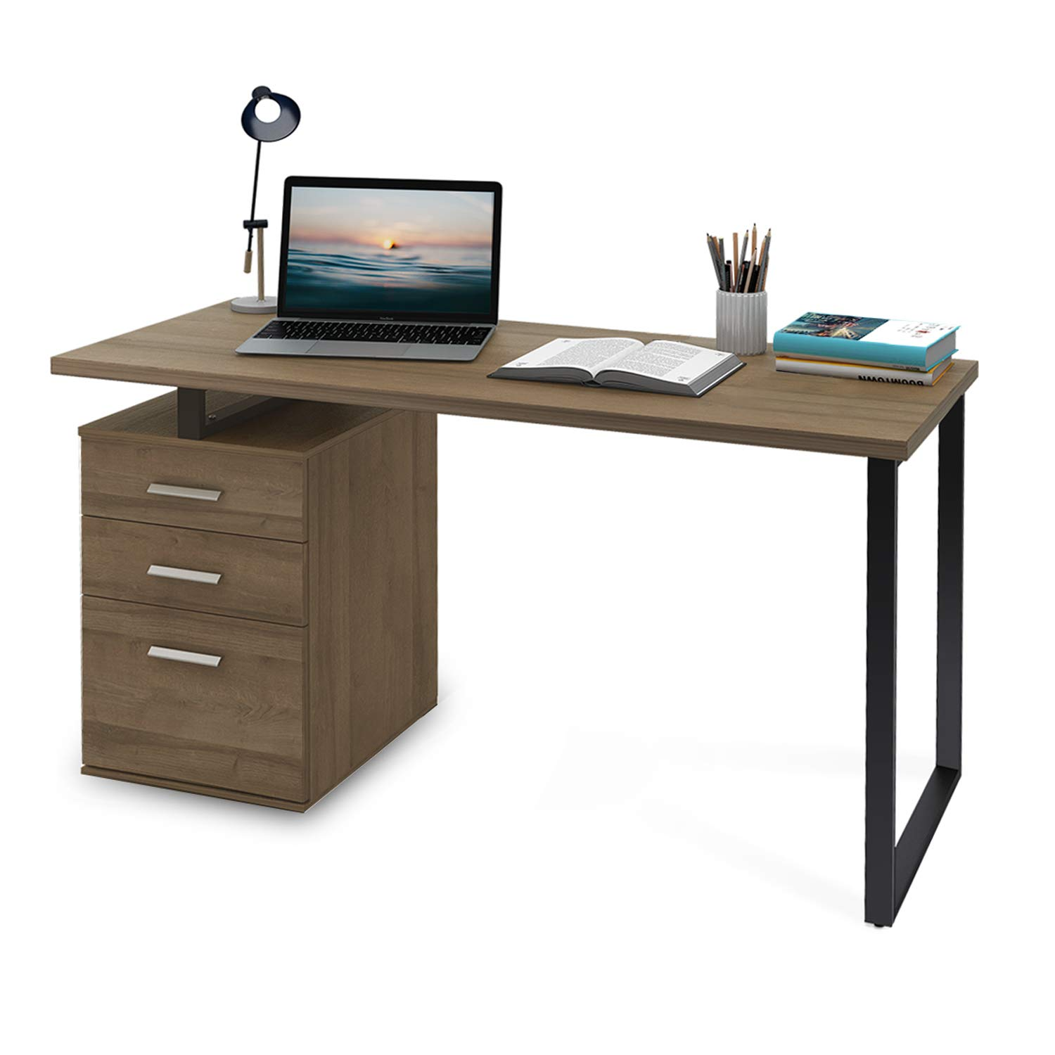 DEVAISE Modern Computer Desk, 55.1'' Office Desk with Reversible File Cabinet by DEVAISE
