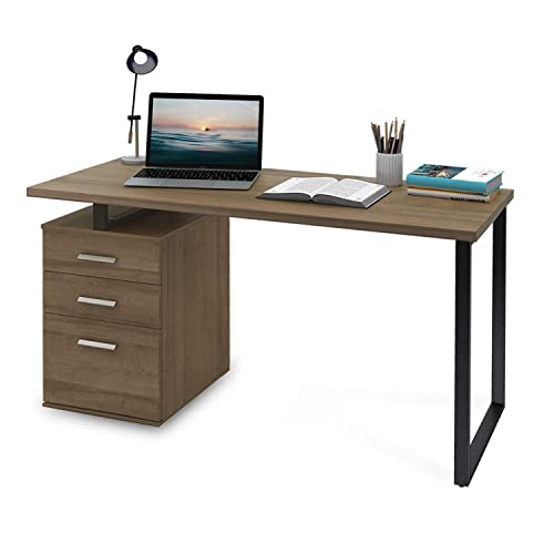 DEVAISE Modern Computer Desk, 55.1 Office Desk with Reversible File Cabinet, Gray Oak