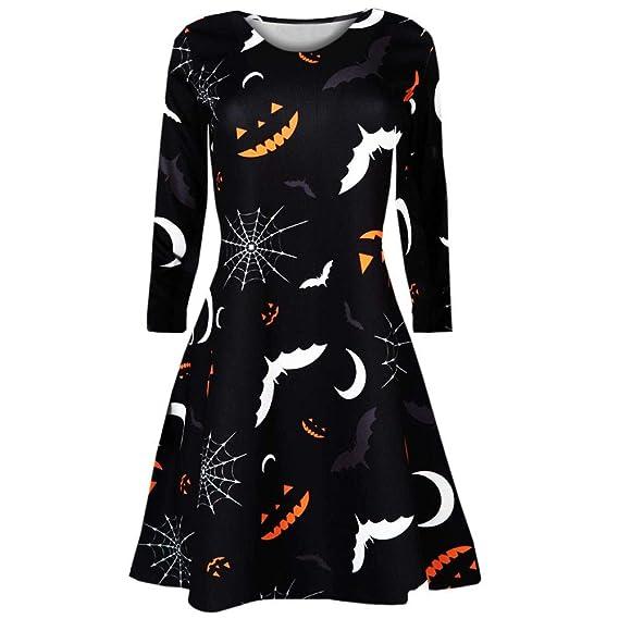 Vestido De Halloween, Vestido Estampado De Manga Larga, Las Mujeres De Manga Larga Calabazas Araña De Halloween Noche Prom Traje Vestido Swing Beikoard: ...