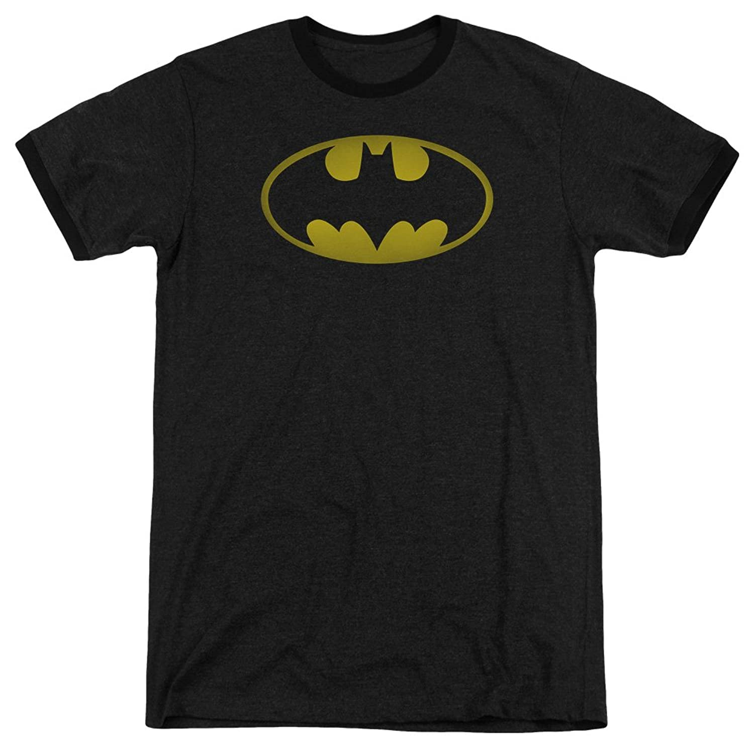 Batman Men's Washed Bat Logo Ringer T-Shirt