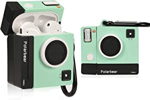 Lupct Green Camera Compatible with Airpods 1/2 Case Silicone,Cute Cartoon 3D Cool Air pods Design Cover, Fun Kawaii Fashion Stylish Funny Cases for Kids Girls Teens Boys Character Skin Keychain Airpod