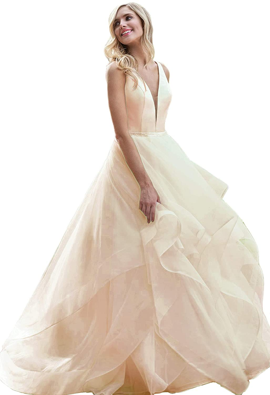 Liangjinsmkj Women's Organza Ruffles Beaded Prom Ball Gown Wedding Dresses Bride Dress At Amazon Clothing Store: Organza Ruffle Wedding Dresses For Bride At Websimilar.org
