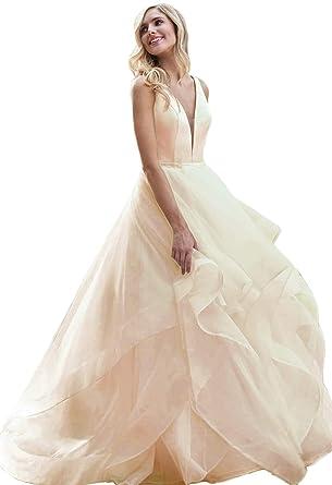 6d19db54cf6 liangjinsmkj Women s Organza Ruffles Beaded Prom Ball Gown Wedding Dresses  Bride Dress Champagne US2