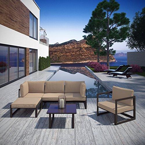 Modway EEI-1731-BRN-MOC-SET Fortuna 6 Piece Outdoor Patio Sectional Sofa Set in Brown Mocha