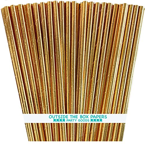 Stick Foil - Gold Foil Paper Straws - 7.75 Inches - Pack of 100 - Outside the Box Papers Brand