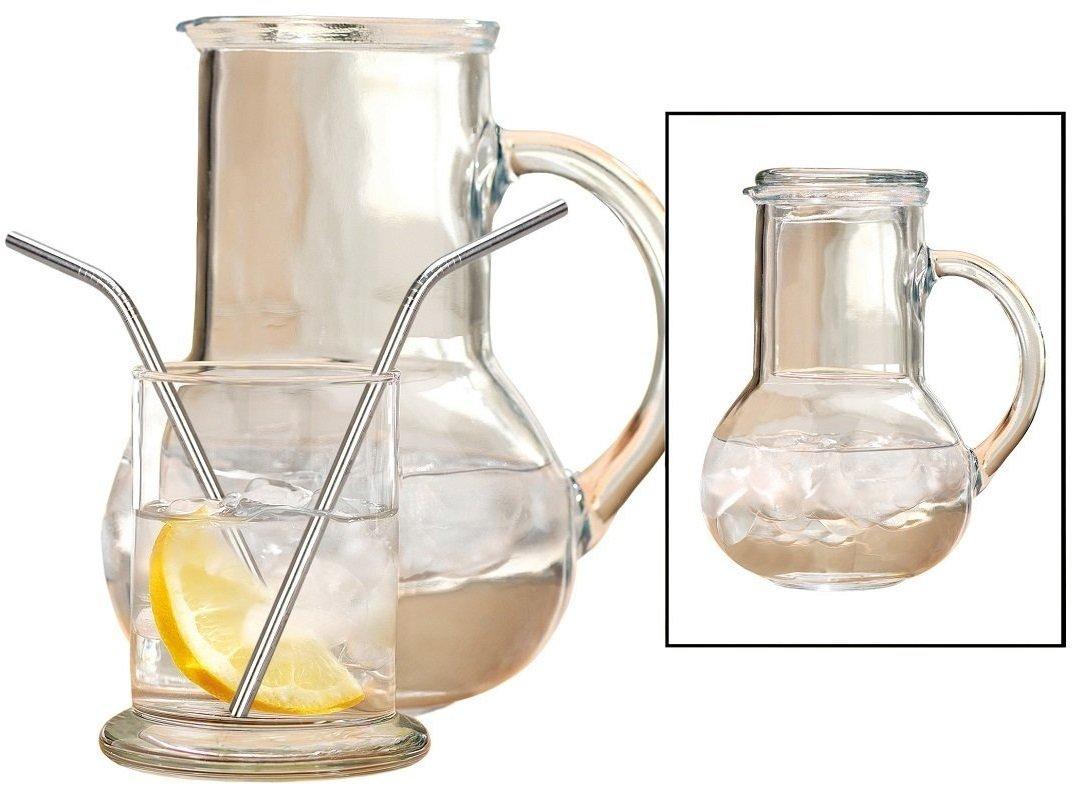 Circleware Oasis mesilla de noche jarra y juego de cristal, un jarra de cristal 36 oz y 8 oz vaso de agua, edición limitada cristal vaso: Amazon.es: Hogar