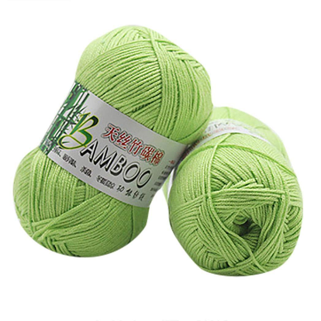 Winkey - Hilo de lana para tejer, 100% algodón de bambú, cálido, suave, natural, 50 g, para mantas, suéter H: Amazon.es: Hogar