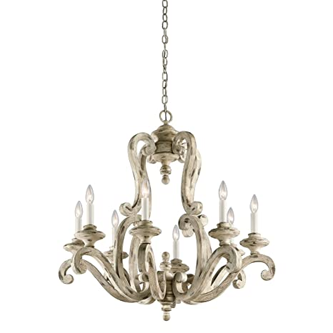 Chandeliers 8 Light with Distressed Antique White Finish Wood Candelabra 32  inch 480 Watts - Chandeliers 8 Light With Distressed Antique White Finish Wood