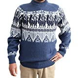 CELITAS DESIGN Sweater Crew Neck Llamas INCA Made in Peru Large Steel
