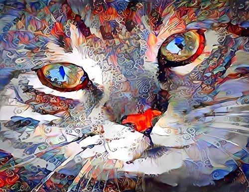 Tabby Cat Face Abstract Fine Art Print - Pet Portrait Wall Decor Artwork 8.5 x 11