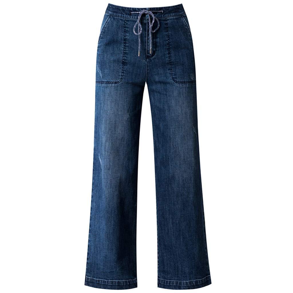 bluee High Waist Straight Jeans Women's New Slim Loose Loose Wide Leg Pants Dark Long Pants Denim Straight Pants Korean Version was Thin Pants Length 9595.5cm (color   bluee, Size   32 4XL)