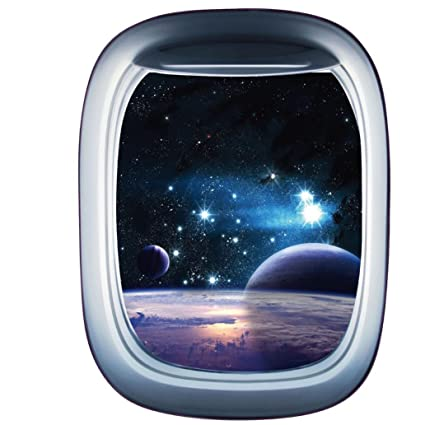 4cb8d5dc1 3D Spaceship False Window Wall Stickers- Universe Scene with Planets Stars-  Removable Wall Mural