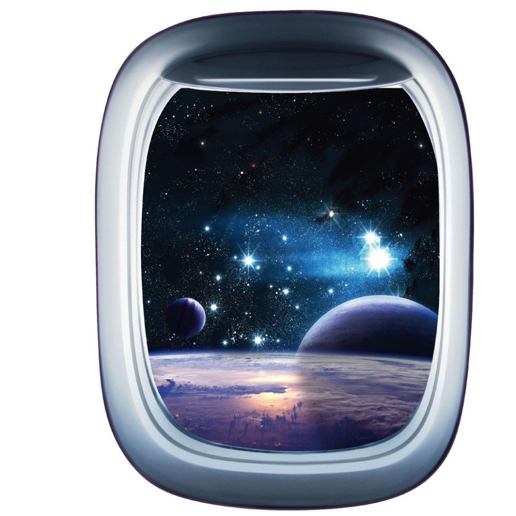3D Spaceship False Window Wall Stickers- Universe Scene with Planets Stars- Removable Wall Mural Decals for Kids Bedroom Ceiling Living Room Nursery (58x43cm / 22.8x16.9 inch, Multicolor B)