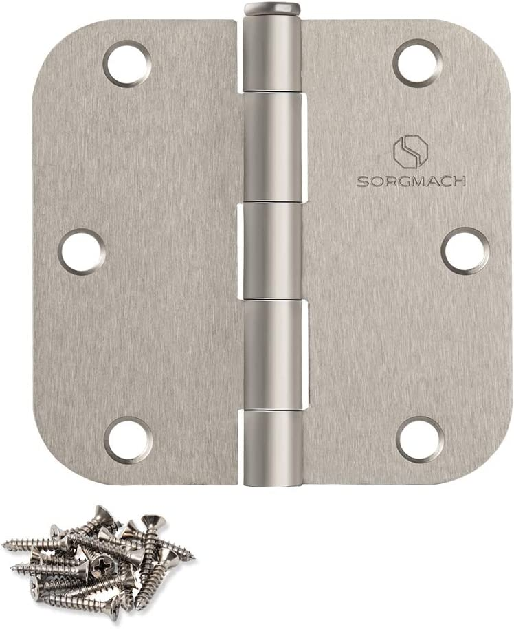 "Door Hinges Satin Nickel 3.5 Inch Interior Hinges 5/8"" Radius - 3pack"